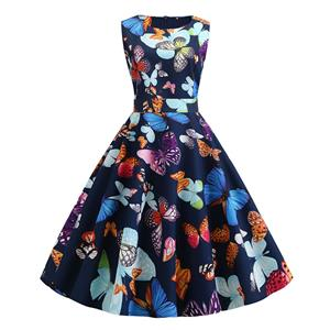 Vintage Dress for Women,Elegant Party Dress,Casual Midi Dress,Sexy Dresses for Women Cocktail Party,Sleeveless High Waist Swing Dress,Fashion Printed Dress,Round Neck Belt Big Swing Dress,#N20454