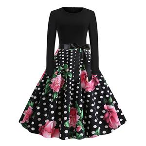 Vintage Dress for Women,Elegant Black Party Dress,Casual Midi Dress,Sexy Dresses for Women Cocktail Party,Long Sleeves High Waist Swing Dress,Printed Dress,Splice Dress,Round Neck Belt Big Swing Dress,#N20324