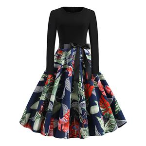 Vintage Dress for Women,Elegant Black Party Dress,Casual Midi Dress,Sexy Dresses for Women Cocktail Party,Long Sleeves High Waist Swing Dress,Printed Dress,Splice Dress,Round Neck Belt Big Swing Dress,#N20325