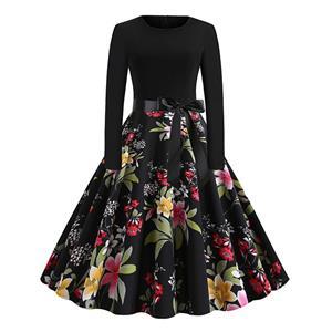 Vintage Dress for Women,Elegant Black Party Dress,Casual Midi Dress,Sexy Dresses for Women Cocktail Party,Long Sleeves High Waist Swing Dress,Printed Dress,Splice Dress,Round Neck Belt Big Swing Dress,#N20326
