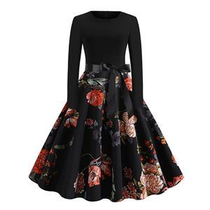 Vintage Dress for Women,Elegant Black Party Dress,Casual Midi Dress,Sexy Dresses for Women Cocktail Party,Long Sleeves High Waist Swing Dress,Printed Dress,Splice Dress,Round Neck Belt Big Swing Dress,#N20327