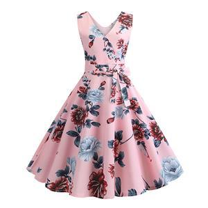 Vintage Dress for Women,Elegant Party Dress,Casual Midi Dress,Sexy Dresses for Women Cocktail Party,Sleeveless High Waist Swing Dress,Printed Dress,V Neck Belt Big Swing Dress,#N20328