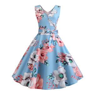 Elegant Floral Print Low-cut V Neck High Waist Belted Sleeveless Party Swing Dress N20329