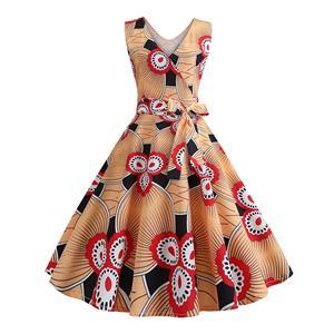 Vintage Dress for Women,Elegant Black Party Dress,Casual Midi Dress,Sexy Dresses for Women Cocktail Party,Sleeveless High Waist Swing Dress,Printed Dress,V Neck Belt Big Swing Dress,#N20331