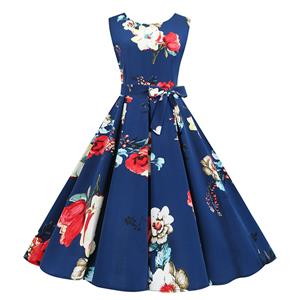 Vintage Dress for Women,Elegant Black Party Dress,Casual Midi Dress,Sexy Dresses for Women Cocktail Party,Sleeveless High Waist Swing Dress,Printed Dress,Round Neck Belt Big Swing Dress,#N20365