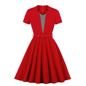 Vintage Rockabilly Short Sleeve High Waist Belted Cocktail Party A-line Midi Dress N19937