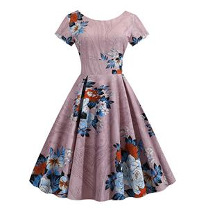 Vintage Dress for Women,Elegant Party Dress,Casual Midi Dress,Sexy Dresses for Women Cocktail Party,Short Sleeves High Waist Swing Dress,Printed Dress,Round Neck Big Swing Dress,#N20374