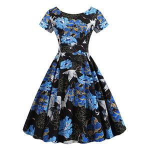 Vintage Dress for Women,Elegant Party Dress,Casual Midi Dress,Sexy Dresses for Women Cocktail Party,Short Sleeves High Waist Swing Dress,Printed Dress,Round Neck Big Swing Dress,#N20375