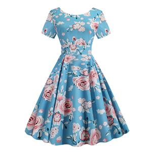 Vintage Dress for Women,Elegant Party Dress,Casual Midi Dress,Sexy Dresses for Women Cocktail Party,Short Sleeves High Waist Swing Dress,Printed Dress,Round Neck Big Swing Dress,#N20381