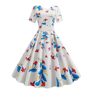 Vintage Dress for Women,Elegant Party Dress,Casual Midi Dress,Sexy Dresses for Women Cocktail Party,Short Sleeves High Waist Swing Dress,Printed Dress,Round Neck Big Swing Dress,#N20382
