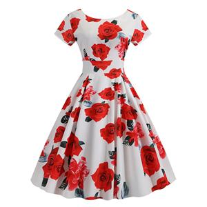 Vintage Dress for Women,Elegant Party Dress,Casual Midi Dress,Sexy Dresses for Women Cocktail Party,Short Sleeves High Waist Swing Dress,Printed Dress,Round Neck Big Swing Dress,#N20383