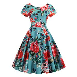 Vintage Dress for Women,Elegant Party Dress,Casual Midi Dress,Sexy Dresses for Women Cocktail Party,Short Sleeves High Waist Swing Dress,Printed Dress,Round Neck Big Swing Dress,#N20384