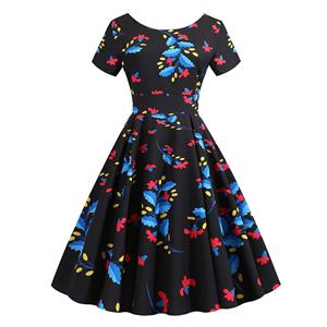 Vintage Dress for Women,Elegant Party Dress,Casual Midi Dress,Sexy Dresses for Women Cocktail Party,Short Sleeves High Waist Swing Dress,Printed Dress,Round Neck Big Swing Dress,#N20385