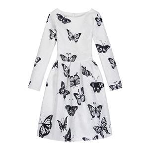 Rose Print Dress, Long Sleeve Dress, Round Collar Dress, Girls Lovely Dress, Vintage Dresses for Girls, Girls Swing Dress, Back Zipper Dress, A-Line Dress, #N15499