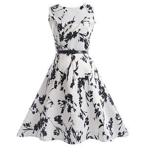 Vintage Dresses for Girls, Floral Print Dress, Sleeveless Dress, Round Collar Dress, Back Zipper Dress, Retro Dresses for Girls, Swing Dress, #N15478
