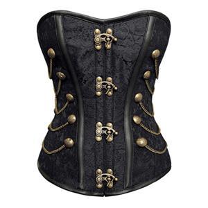 Vintage Black Steel Bone Jacquard Weave Fabric Overbust Corset N10069