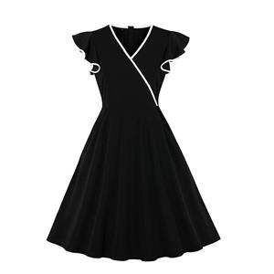 Fashion Casual Wave Selvedge Swing Dress, Sexy Party Dress, Retro Party Dresses for Women 1960, Vintage Dresses 1950