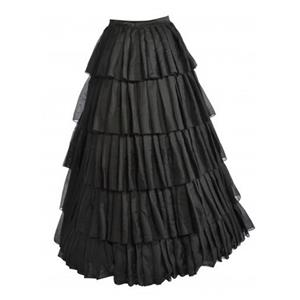 Sexy Black Ruffles Petticoat, Cheap Ladies Satin Floor-length Petticoat, Dancing Party Petticoat, Plus Size Petticoat, #HG10569