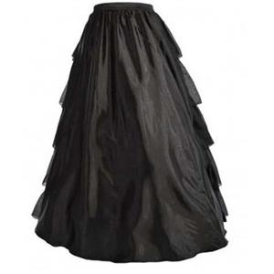 Vintage Black Satin Multi-layer Ruffles Floor-length Petticoat HG10569