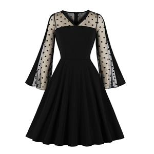 Sexy Sheer Mesh Flared Sleeve Spliced Black A-line Party Dress N19591