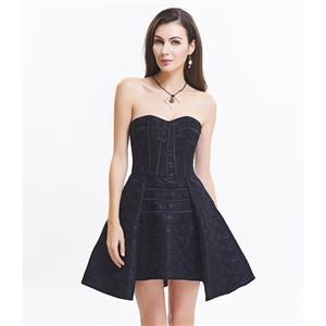 Charming Black Gothic Sweetheart-neck Strapless Lace Cocktail Dresses N15513