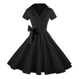 Vintage Black Short Sleeves Swing Rockabilly Ball Party Casual Dress N11088