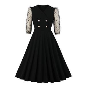 French Maiden Party Dresses, Cute Summer Swing Dress, Retro Sheer Mesh Dresses for Women 1960, Vintage Dresses 1950