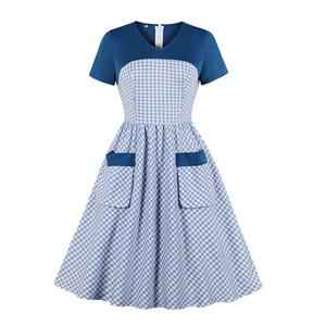 Fashion Casual Plaid Swing Dress, Sexy Party Dress, Retro Party Dresses for Women 1960, Vintage Dresses 1950