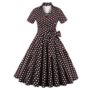 Vintage Brown Polka Dot Short Sleeves Swing Rockabilly Ball Party Dress N13063