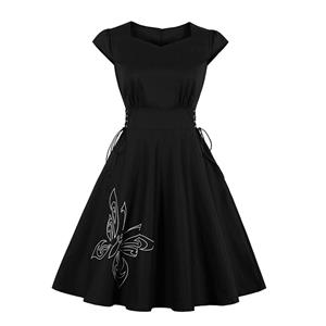 Gothic Black Butterfly Embroidered Side Lace-up High Waist Midi Dress N19240