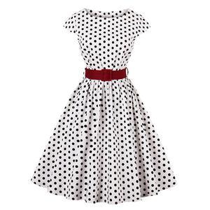 Cap Sleeve Dress, Round Collar Dress, Dot Print Dress, Vintage Dress for Women, Back Zipper Dress, Midi Vintage Dress, Slim Waist Dress, #N15424
