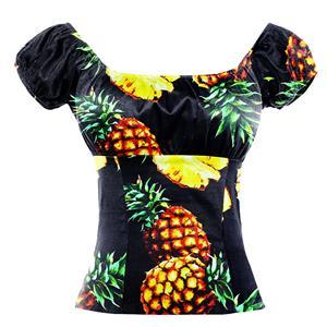 Lovely Pineapple Print T-shirt, Vintage Casual Short Sleeve Tops, Printed Slim Fit T-shirt, Women