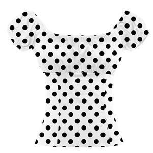 Polka Dot Print T-shirt, Vintage Casual Short Sleeve Tops, Printed Slim Fit T-shirt, Women