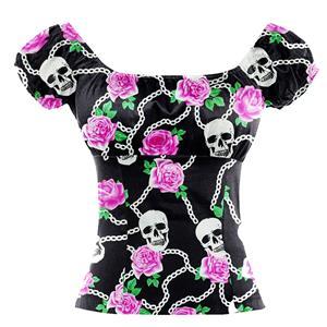 Skull and Flower Print T-shirt, Vintage Casual Short Sleeve Tops, Printed Slim Fit T-shirt, Women