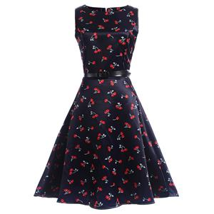 Vintage Dresses for Girls, Floral Print Dress, Sleeveless Dress, Round Collar Dress, Back Zipper Dress, Retro Dresses for Girls, Swing Dress, #N15480