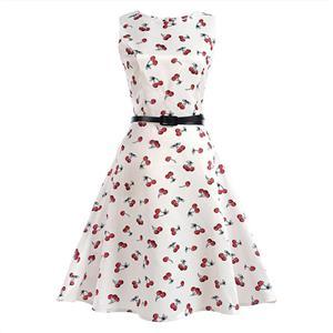 Vintage Dresses for Girls, Floral Print Dress, Sleeveless Dress, Round Collar Dress, Back Zipper Dress, Retro Dresses for Girls, Swing Dress, #N15481