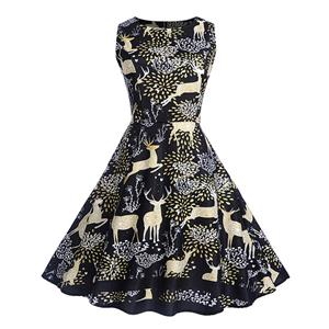 Vintage Dress for Women Black, Christmas Dresses for Women Cocktail Party, Casual Swing Dress, Sleeveless Swing Dress, Christmas Reindeer Print Dress, Christmas Party Dress, #N18276