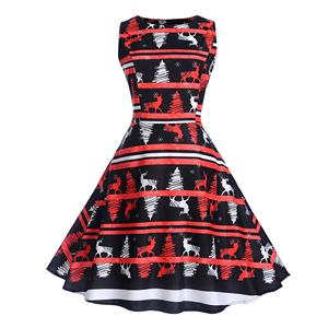 Vintage Dress for Women Black, Christmas Dresses for Women Cocktail Party, Casual Swing Dress, Sleeveless Swing Dress, Christmas Reindeer Print Dress, Christmas Party Dress, #N18277