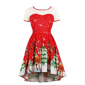 Vintage Dress for Women Red, Christmas Dresses for Women Cocktail Party, Casual Swing Dress, Short Sleeves High Waist Swing Dress, Christmas Reindeer Print Dress, Christmas Party Dress, #N18377