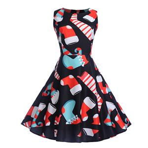 Vintage Dress for Women Black, Christmas Dresses for Women Cocktail Party, Casual Swing Dress, Sleeveless Swing Dress, Christmas Reindeer Print Dress, Christmas Party Dress, #N18280