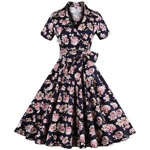 Vintage Floral Print Short Sleeves Swing Rockabilly Ball Cocktail Party Casual Dress N11659