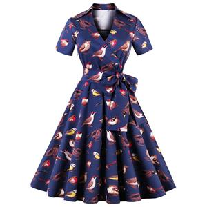 Vintage Birds Print Short Sleeves Rockabilly Ball Cocktail Party Casual Swing Dress N14929
