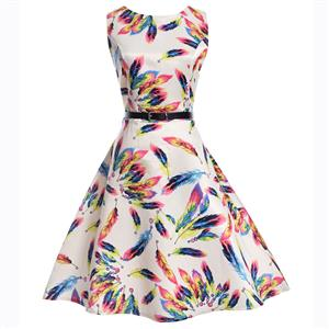 Vintage Dresses for Girls, Floral Print Dress, Sleeveless Dress, Round Collar Dress, Back Zipper Dress, Retro Dresses for Girls, Swing Dress, #N15479