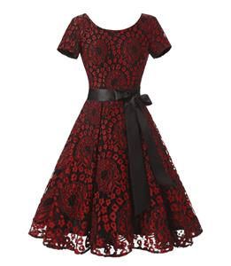 Vintage Floral Lace Short Sleeve Evening Party Swing Dress N14004