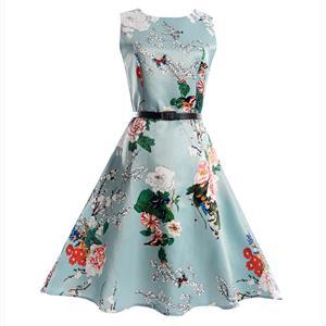 Vintage Dresses for Girls, Floral Print Dress, Sleeveless Dress, Round Collar Dress, Back Zipper Dress, Retro Dresses for Girls, Swing Dress, #N15473