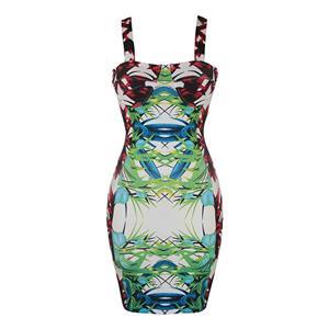 Sleeveless Bodycon Dress, Straps Dress, Vintage Bodycon Dress, Floral Print Dress, Bodycon Bandage Dress, Sweetheart Neckline Dress, Sexy Dresses for Women, Braces Skirt, #N15631