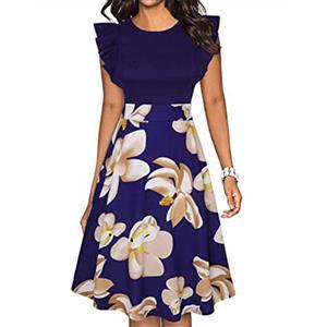 Retro Printed Dress, Retro Dresses for Women 1960, Vintage Dresses 1950