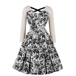 Vintage Black-white Floral Printed Long Sleeves High Waist Midi Dress N18215