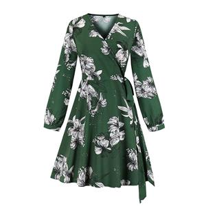 Vintage Floral Printed V Neck Side Tying Long Sleeve Party Swing Dress N19523