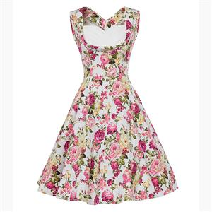 Vintage Pink Floral Printed Pleated Sweetheart Neckline Sleeveless Midi Swing Dress N18134